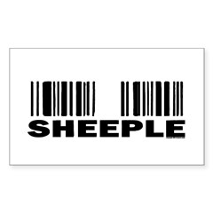 Sheeple Barcode Rectangle Decal
