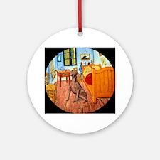 Weimaraner in Van Gogh's Room Ornament (Round)