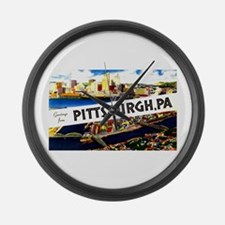 Pittsburgh Pennsylvania Greetings Large Wall Clock