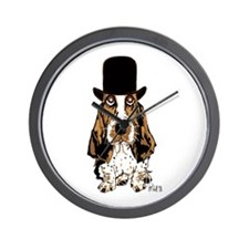 British hat Basset Hound Wall Clock