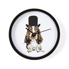 British hat Basset Hound Wall Clock