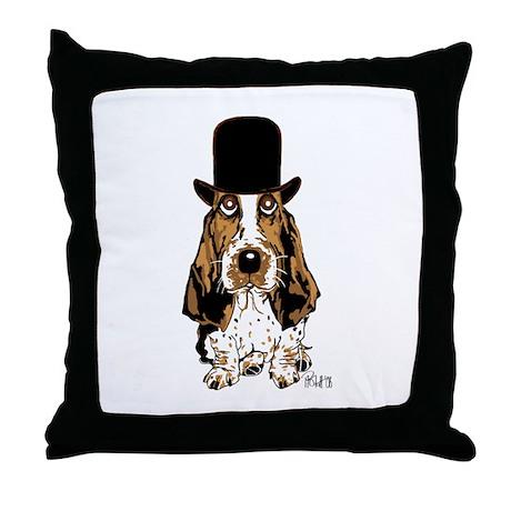 British hat Basset Hound Throw Pillow