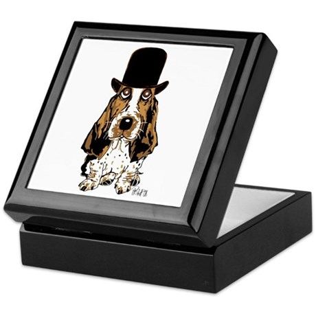 British hat Basset Hound Keepsake Box