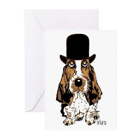 British hat Basset Hound Greeting Cards (Pk of 20)