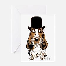 British hat Basset Hound Greeting Card