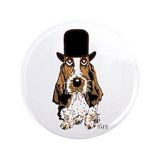 """British hat Basset Hound 3.5"""" Button (100 pac"""