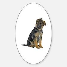 German Shepherd Puppy Oval Decal