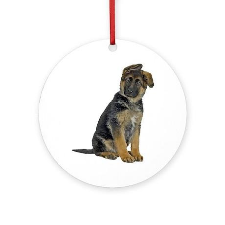 German Shepherd Puppy Ornament (Round)