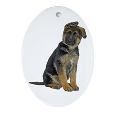German Shepherd Puppy Oval Ornament