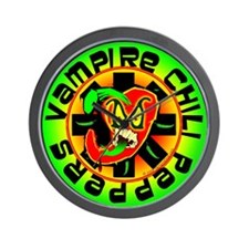 Vampire Chili Peppers Green Wall Clock