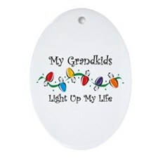 Grandkids Light My Life Oval Ornament