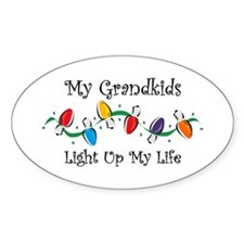 Grandkids Light My Life Oval Bumper Stickers