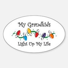 Grandkids Light My Life Oval Bumper Stickers