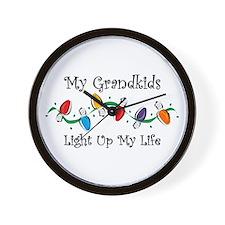 Grandkids Light My Life Wall Clock