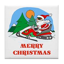 SnoMo Merry Christmas Tile Coaster