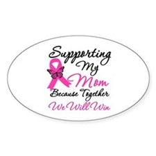Breast Cancer Support Mom Oval Decal