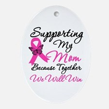 Breast Cancer Support Mom Oval Ornament