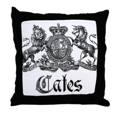 Cates Vintage Last Name Crest Throw Pillow