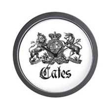 Cates Vintage Last Name Crest Wall Clock