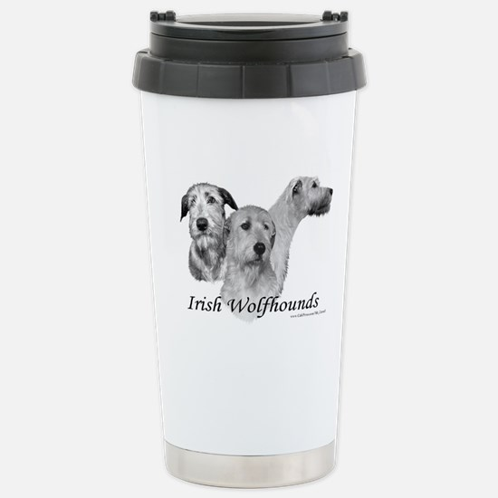 3 Irish Wolfhound heads on Stainless Steel Travel