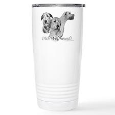3 Irish Wolfhound heads on Travel Mug