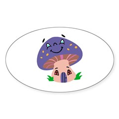 Happy Smiling Mushroom Oval Decal