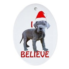 dane puppy christmas Oval Ornament