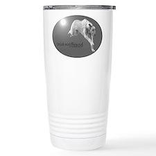 Blk Wht Irish Wolfhound Running Travel Mug
