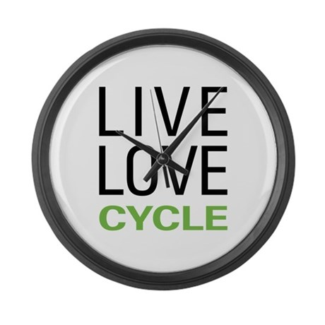 Live Love Cycle Large Wall Clock