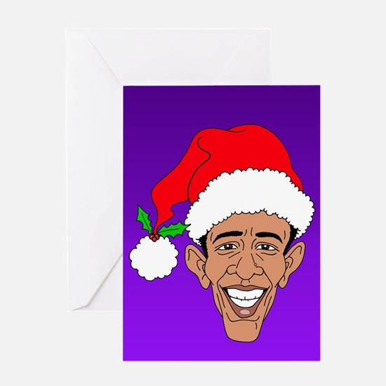 Obama Claus Purple Greeting Card