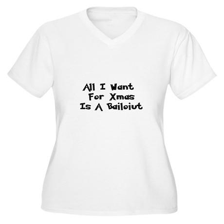 Bailout For Xmas Women's Plus Size V-Neck T-Shirt