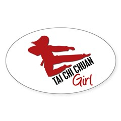 Tai Chi Chuan Girl Oval Sticker (10 pk)