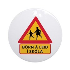Caution Children Going To School, Iceland Ornament