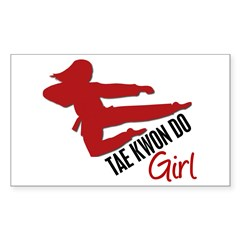 Tae Kwon Do Girl Rectangle Decal