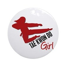 Tae Kwon Do Girl Ornament (Round)