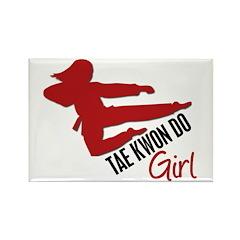 Tae Kwon Do Girl Rectangle Magnet (100 pack)