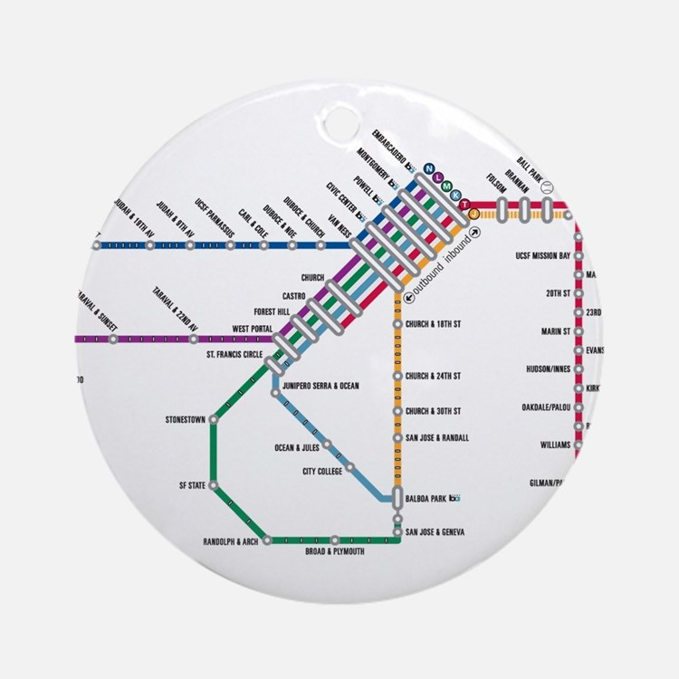 SF MUNI Map Ornament (Round)