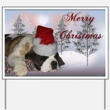 St. Bernard Puppy Christmas Yard Sign