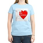 I Love My Soldier (Front) Women's Pink T-Shirt