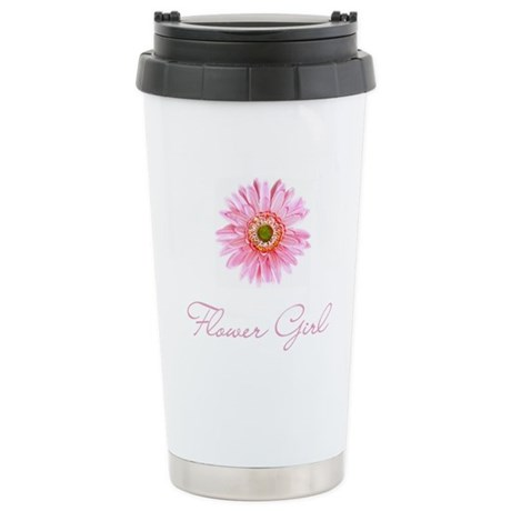 Pink Daisy Flower Girl Stainless Steel Travel Mug