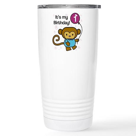 Monkey 1st Birthday Stainless Steel Travel Mug