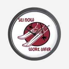 Ski Now Work Later Wall Clock
