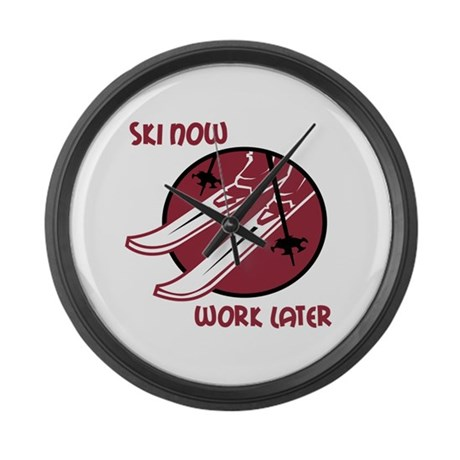 Ski Now Work Later Large Wall Clock