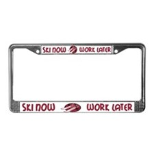 Ski Now Work Later License Plate Frame