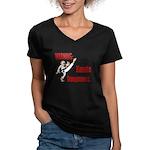 Big Eyes 2 Women's V-Neck Dark T-Shirt