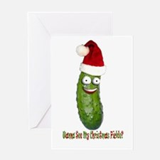 pickle front Greeting Cards
