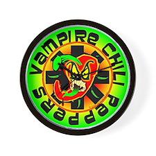 Vampire Chili Peppers Green Wall Clock
