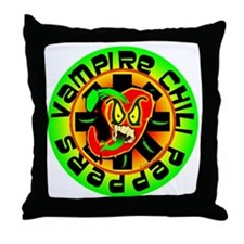 Vampire Chili Peppers Green Throw Pillow