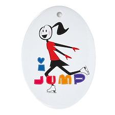 i spin, i jump Ice Skating Oval Ornament