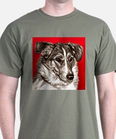 Collie Portrait Red Bkgr T-Shirt